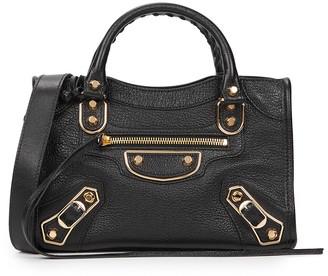 Balenciaga Classic City Metal Edge Mini Black Leather Shoulder Bag