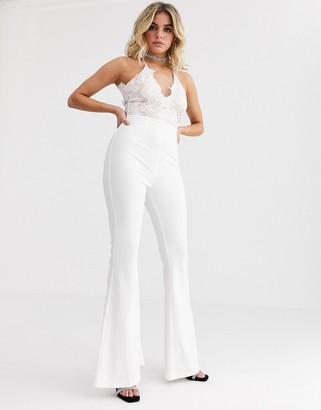 Rare London lace plunge front top wide leg jumpsuit in white
