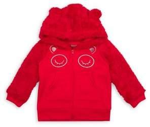Nannette Baby Girl's Bear Faux Fur-Trim Fleece Hoodie