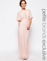 John Zack Petite All Over Lace Maxi Dress With Keyhole Front And Open Back Detail