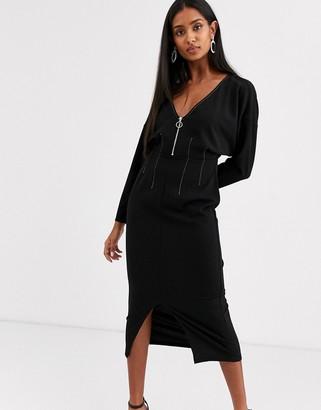 ASOS DESIGN long sleeve zip front midi dress in black