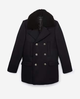 The Kooples Leather collar midnight blue wool pea coat