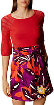Karen Millen Pointelle Fluted Knit Top, Red