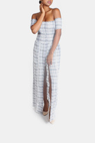 Sage Summer Plaid-Romper Maxi-Dress