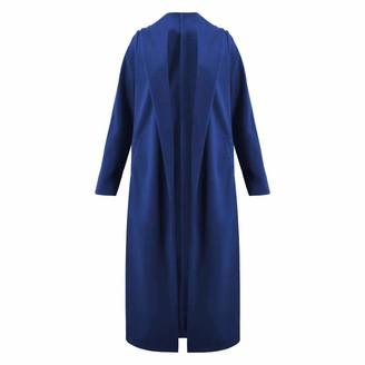 Zilosconcy Ladies Long Sleeve Plain Pocket Boyfriend Cardigan Womens Top Chunky Knitwear Tunic Loose-Fit Winter Knitwear Cardigans Blue