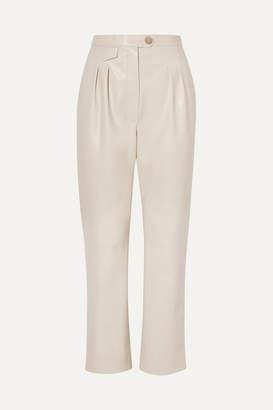 Nanushka Mitsu Cropped Vegan Leather Straight-leg Pants - Ecru