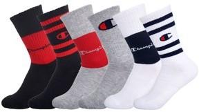 Champion Boys Socks, 6 Pack Crew Colorblock, Sizes M-L