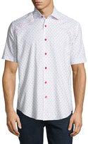 Bogosse Mini-Patterned Short-Sleeve Sport Shirt, White