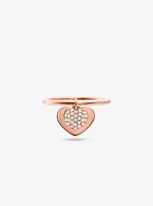 Michael Kors Precious Metal-Plated Sterling Silver Pave Heart Ring