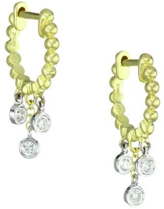 Meira T 14K Yellow Gold & Diamond Fringe Huggie Hoop Earrings