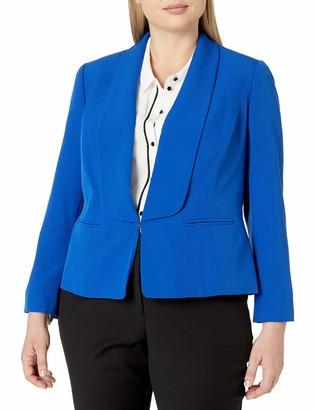 Kasper Women's Plus Size Wing Collar Stretch Crepe Flyaway Jacket
