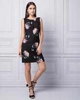 Le Château Floral Print Satin Ruffle Dress