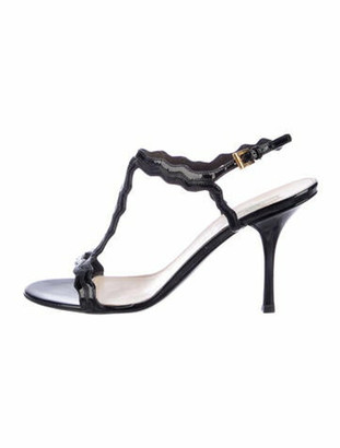 Prada Patent Leather Scalloped Accent T-Strap Sandals Black