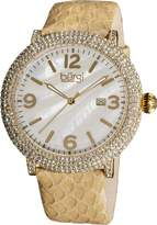 Burgi Women's BUR074TN Swiss Quartz Crystal Tan Leather Strap Watch