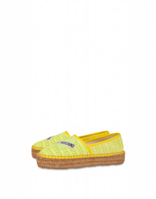 Love Moschino Raffia Espadrilles Glitter Heart Woman Yellow Size 35