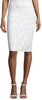 Andrew Gn Cotton Eyelet Pencil Skirt, White