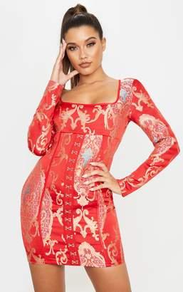 PrettyLittleThing Red Jacquard Oriental Long Sleeve Hook & Eye Bodycon Dress