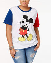 Hybrid Trendy Plus Size Colorblocked Mickey Graphic T-Shirt