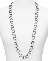 Aqua Hammered Circle Chain Necklace, 34""