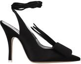 ATTICO The Sling Back Sandals In Black Satin