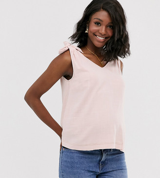 Asos DESIGN Maternity tank with tie shoulder with contrast stitching-Pink