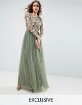 Needle & Thread Needle and Thread Long Sleeve Embroidered Maxi Dress
