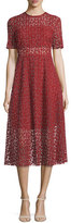 Erin Fetherston Short-Sleeve Embroidered A-Line Midi Dress, Red