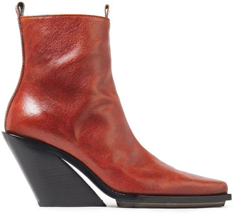 Ann Demeulemeester Burnished-leather Wedge Ankle Boots