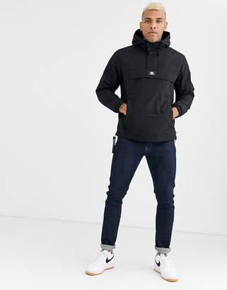 Bershka overhead jacket with fleece lining in black