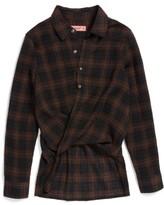 Blank NYC Girl's Blanknyc Draped Plaid Shirt