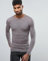 Asos Muscle Fit Cotton Sweater In Mauve