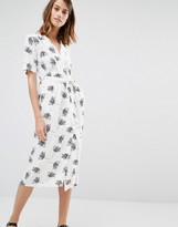 Warehouse Stencil Floral Wrap Midi Dress