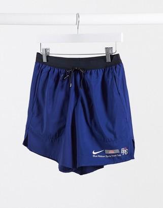 Nike Running Blue Ribbon Sport logo shorts in blue