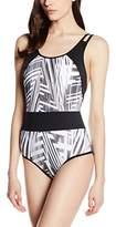 Moontide Women's Cybertron Spliced Tank Striped Swimsuit