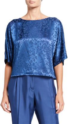 Sally LaPointe Floral-Jacquard Satin Dolman Tee, Blue