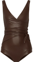 Lisa Marie Fernandez Dree Louise Glossed Wrap Swimsuit - Dark brown