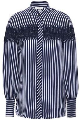 Sandro Viki Lace-trimmed Striped Woven Shirt