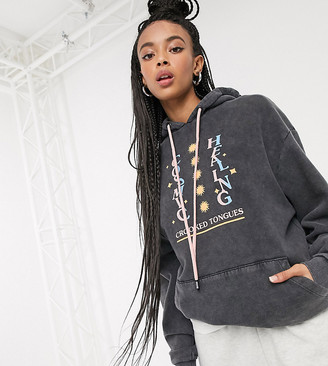 Crooked Tongues oversized hoodie with cosmic print