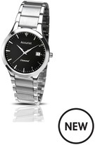 Accurist Accurist Black Dial Stainless Steel Bracelet Watch & Pen Mens Gift Set