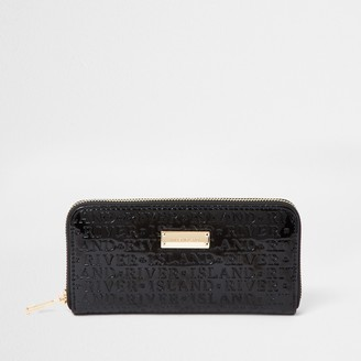 River Island Womens Black patent RI embossed ziparound purse