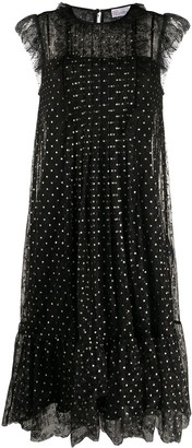 RED Valentino Sleeveless Polka-Dot Flared Dress