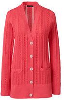 Lands' End Women's Petite Cotton Cable V-neck Cardigan Sweater-Fresh Melon