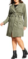 City Chic Faux Suede Trench Coat