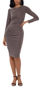 Betsy & Adam Metallic Ruched Sheath Dress