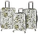 Kensie 3 pc Expandable Hardside Luggage Set - White Flower