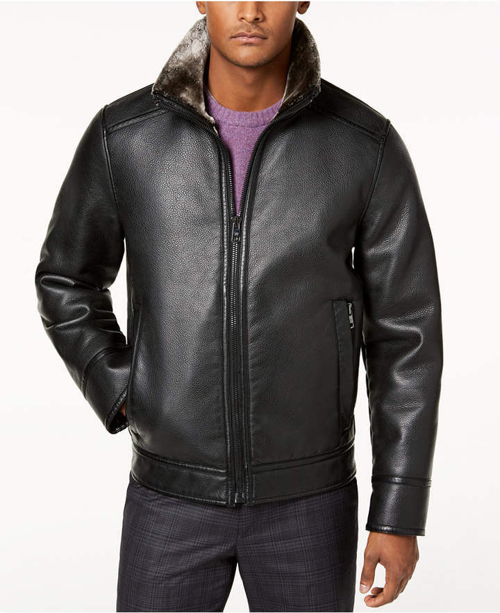 Calvin Klein Men's Faux Shearling Lined Leather Moto Jacket