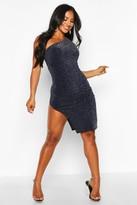 boohoo Glitter Shimmer One Shoulder Midi Dress