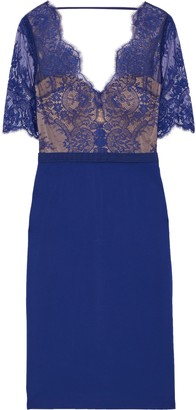 Catherine Deane Naomi Grosgrain-trimmed Lace And Ponte Dress