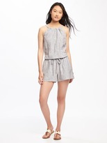 Old Navy High-Neck Linen-Blend Romper for Women