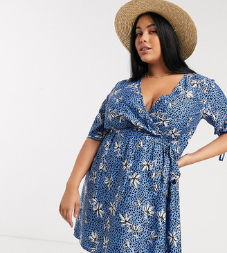 Influence Plus wrap front mini dress in cornflower blue floral spot